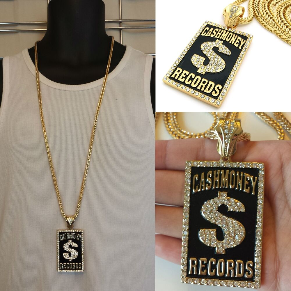 Mens New Iced Out Hip Hop Gold Cash Money Records Pendant