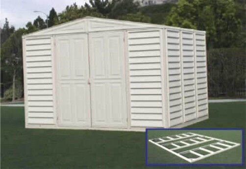 Duramax sheds 10x8 woodbridge vinyl storage shed w floor for 10 x 8 metal shed with floor