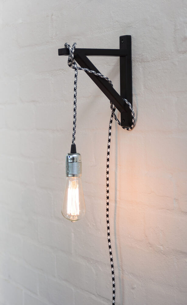 Wall Bracket Pendant Lamp : Interior Deco Black Wall Bracket Hook DIY Plug In Cord Wall Light Pendant Design eBay