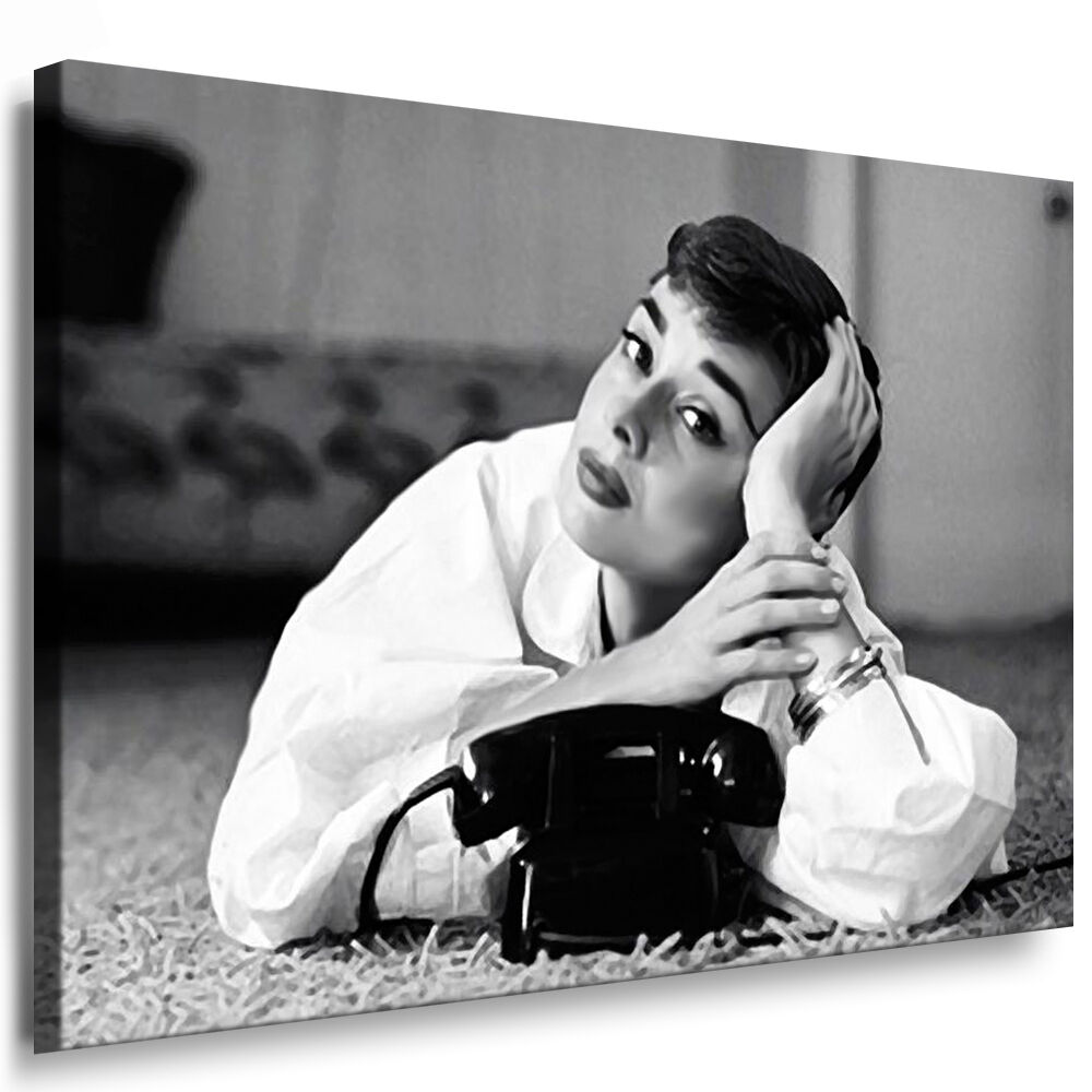 bild auf leinwand mit keilrahmen audrey hepburn bilder wandbild kein poster ebay. Black Bedroom Furniture Sets. Home Design Ideas