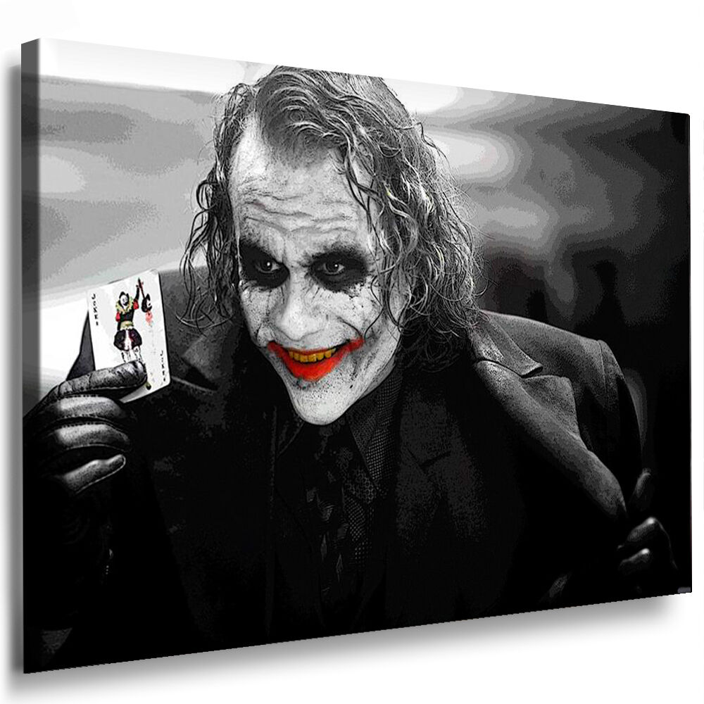 leinwand bild joker batman bilder xxl keilrahmen wandbild kunstdrucke poster ebay. Black Bedroom Furniture Sets. Home Design Ideas