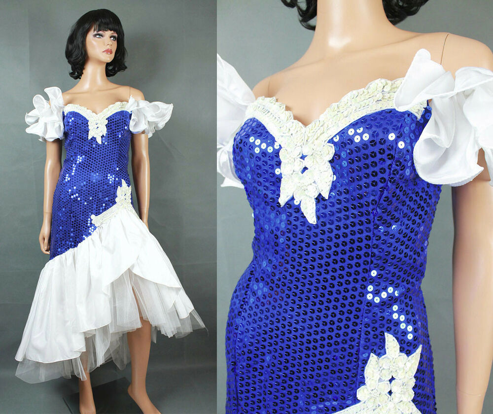80s Prom Dress XS Vintage Blue White Sequins Beaded Wiggle