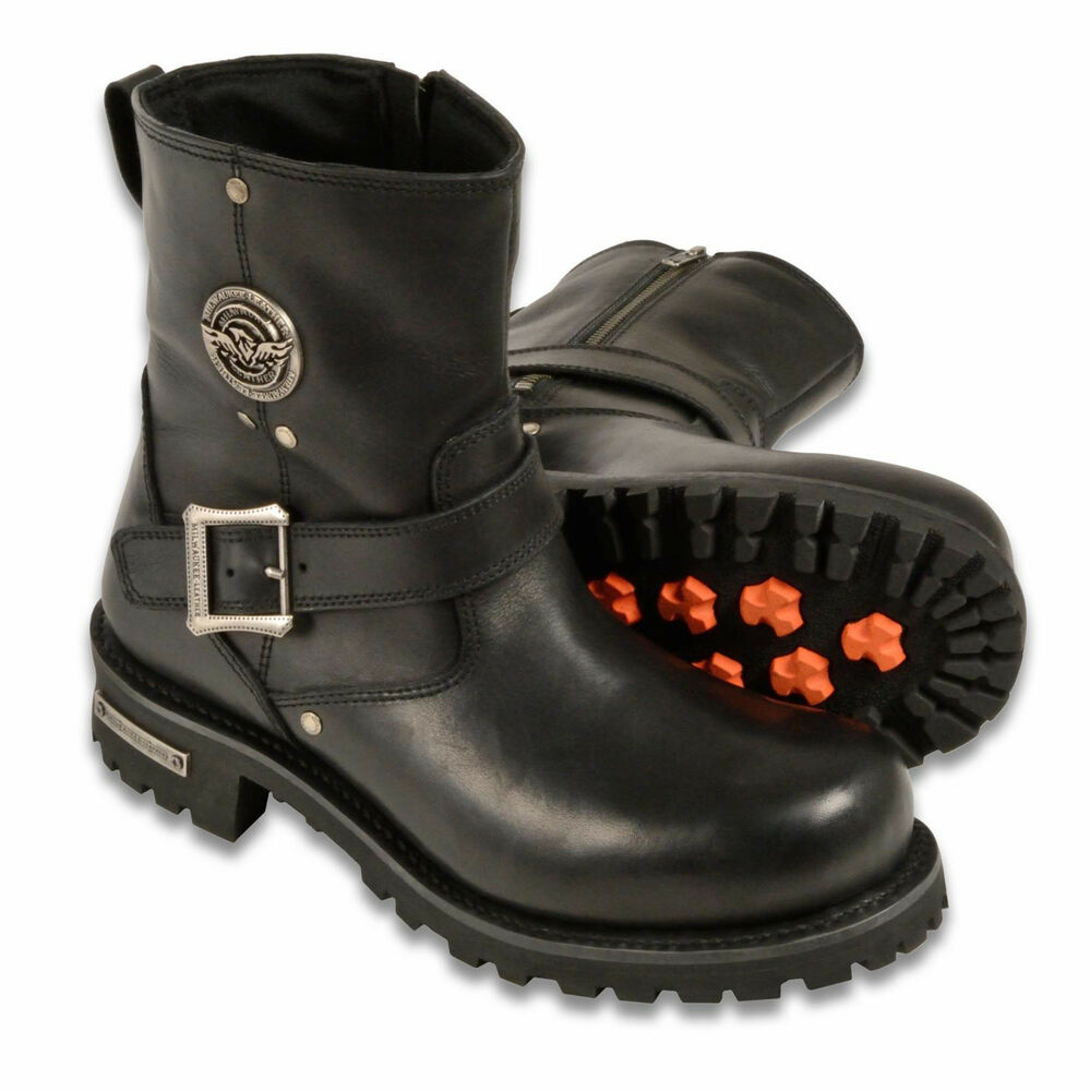 Mens Black Leather Classic Engineer Boots 6 Quot Tall Side