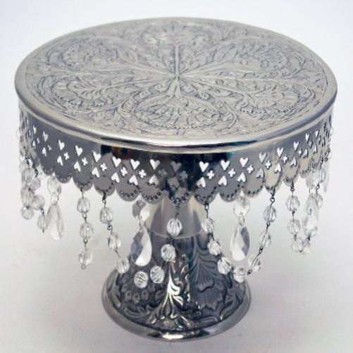 wedding cake stand round pedestal silver finish 16 w crystals new