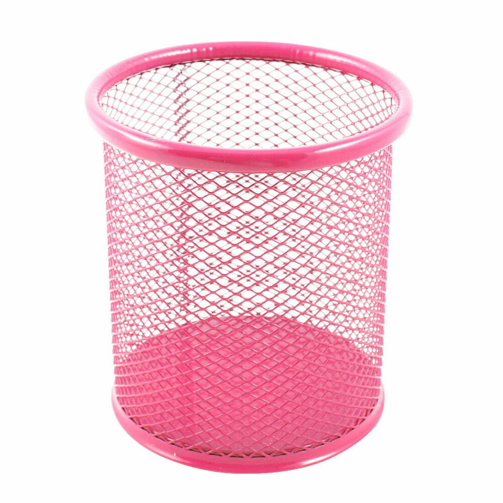 Office Metal Cylinder Mesh Design Pen Pencil Eraser Holder
