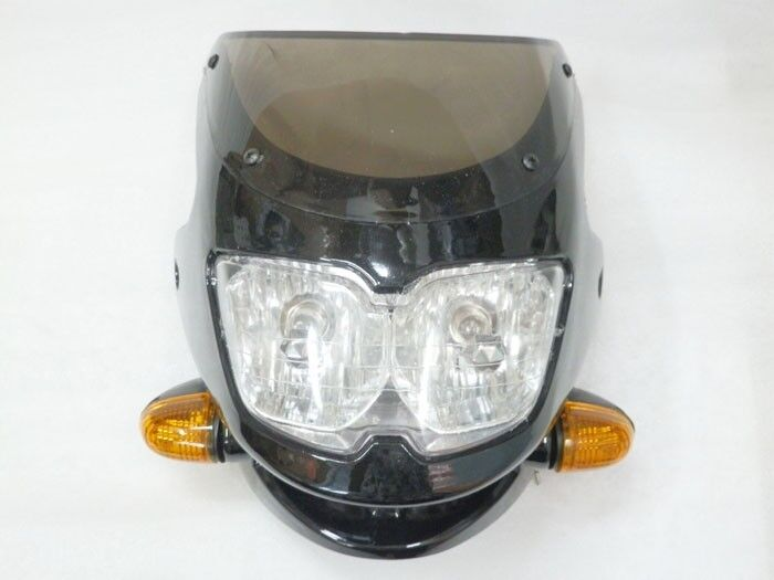 Dual Headlight Cafe Racer : Motorcycle black streetfighter nake bike headlight cafe