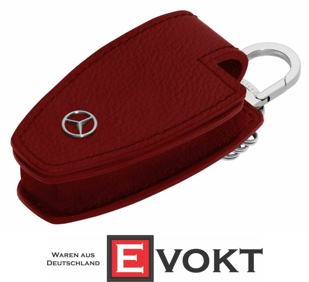 Mercedes benz key case and chain red leather genuine new for Mercedes benz key pouch