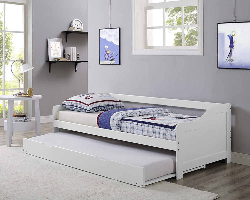 single 3ft day bed white frame with trundle solid wood. Black Bedroom Furniture Sets. Home Design Ideas