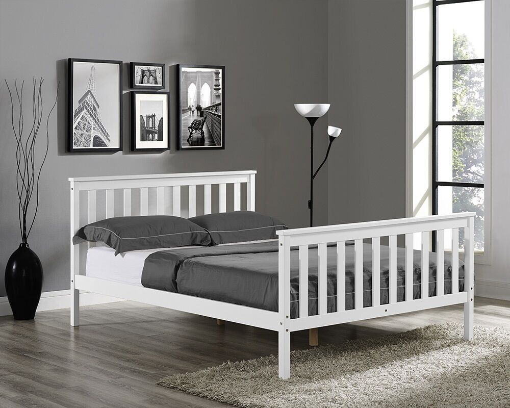 wooden bed frame white single double king size with. Black Bedroom Furniture Sets. Home Design Ideas