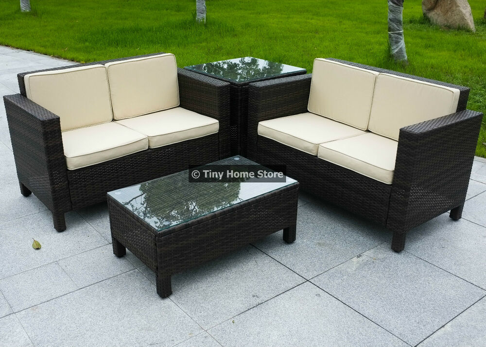 Luxury rattan sofa dining set garden furniture patio for Rattan outdoor furniture