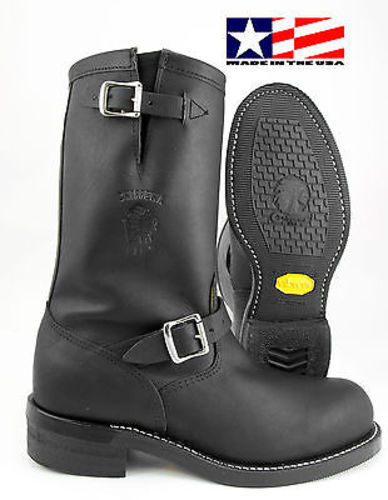 Chippewa Black Oiled Leather Steel Toe Engineer Boot Made