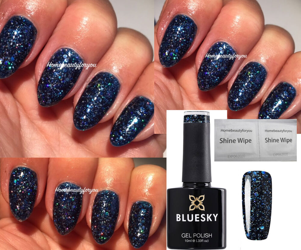 bluesky blz42 navy blue multi diamond glitter uv led soak off nail