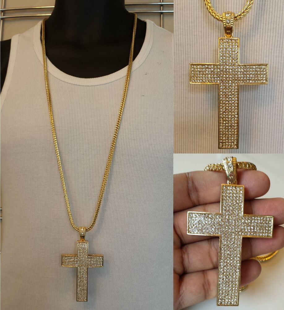 Mens Iced Out 14k Yellow Gold Finish Cross W 36 Inches