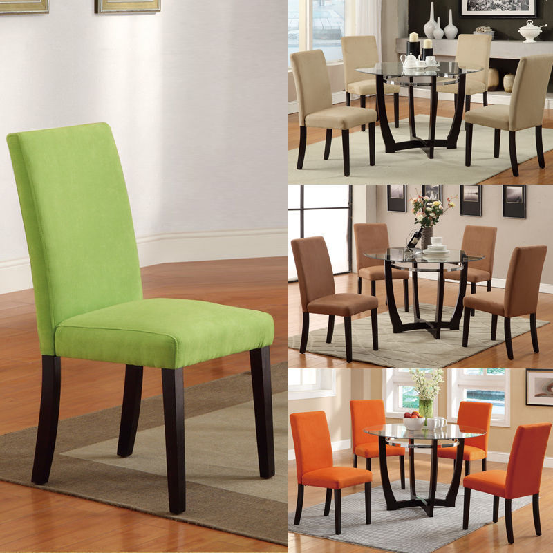 Set Of 6 Microfiber Parson Dining Chairs Orange Apple