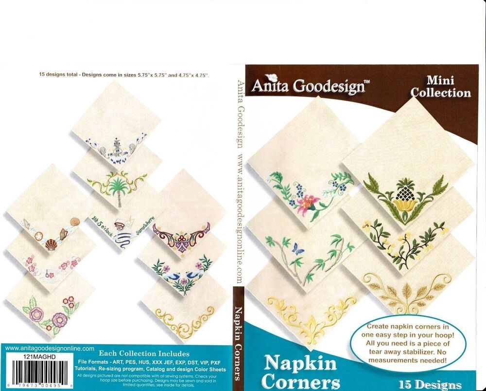 Napkin corners anita goodesign embroidery designs ebay
