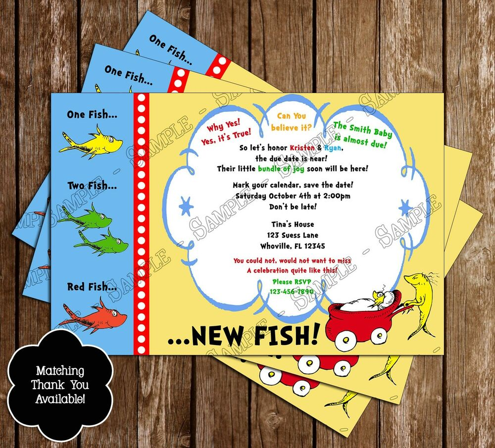 Dr Seuss One Fish Two Fish Baby Shower Invitations 15 Printed