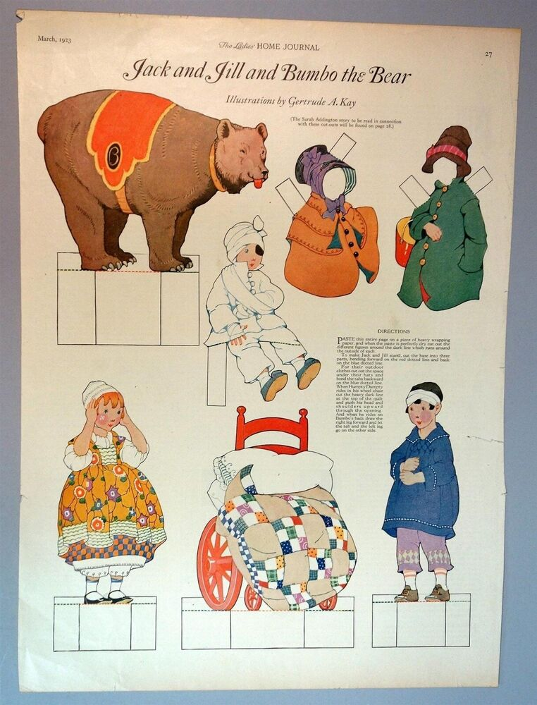 Lhj magazine jack and jill and bumbo the bear paper dolls for Jack and jill house