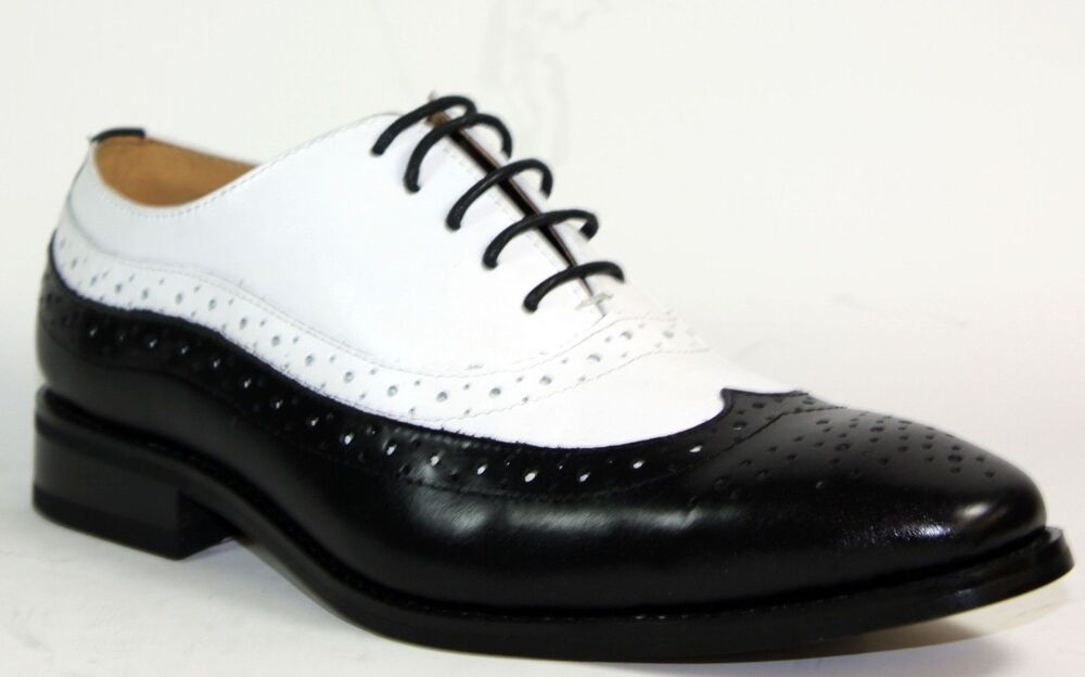la leather mens dress shoes black and white oxfords
