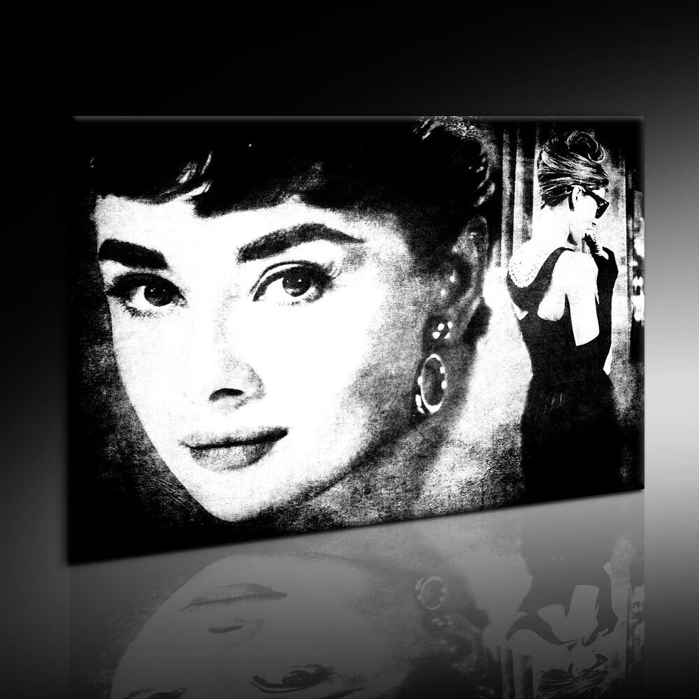 audrey hepburn bild leinwand mit keilrahmen kunstdruck wandbild kein poster ebay. Black Bedroom Furniture Sets. Home Design Ideas