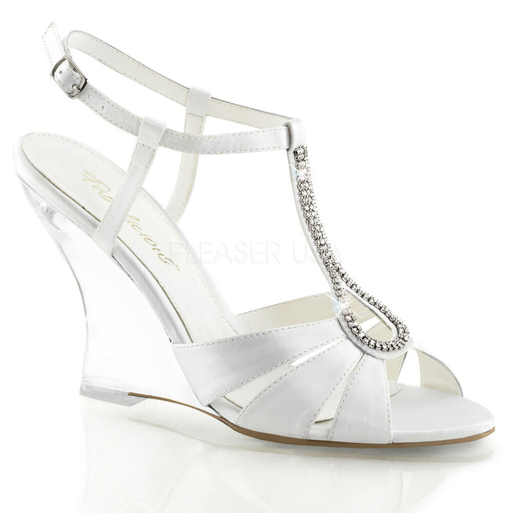 Clear Wedge Wedding Shoes