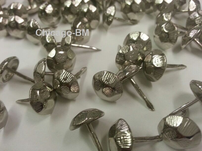 100 oxford nickel hammered upholstery nails tacks for Decorative nails