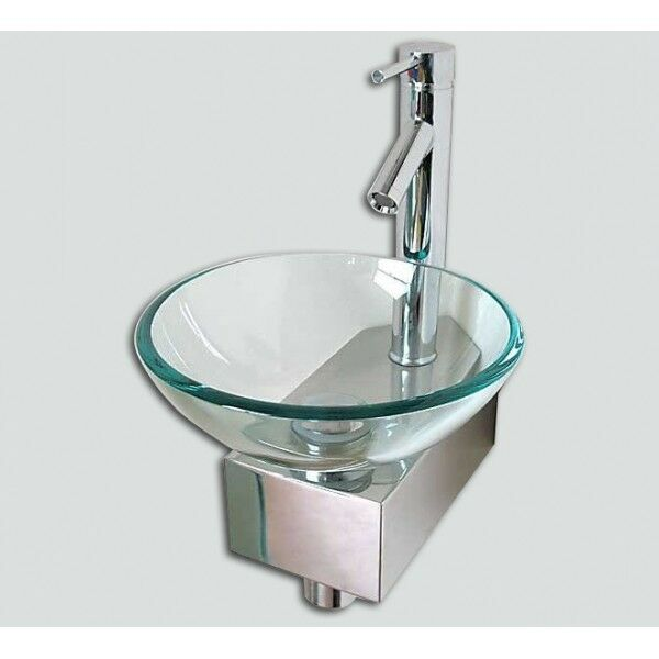 Small Wash Basin Price : Space Saving CORNER Bathroom Sink Basin Glass Bowl + Wall Mounted ...