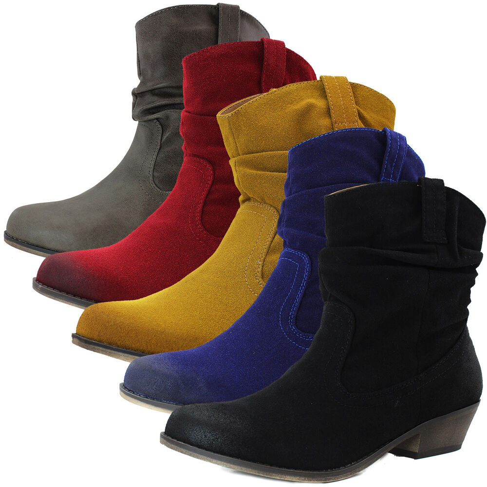 Innovative Womens Cowboy Booties Low Heels Shoes Fancy Dress Medium Ankle Boots