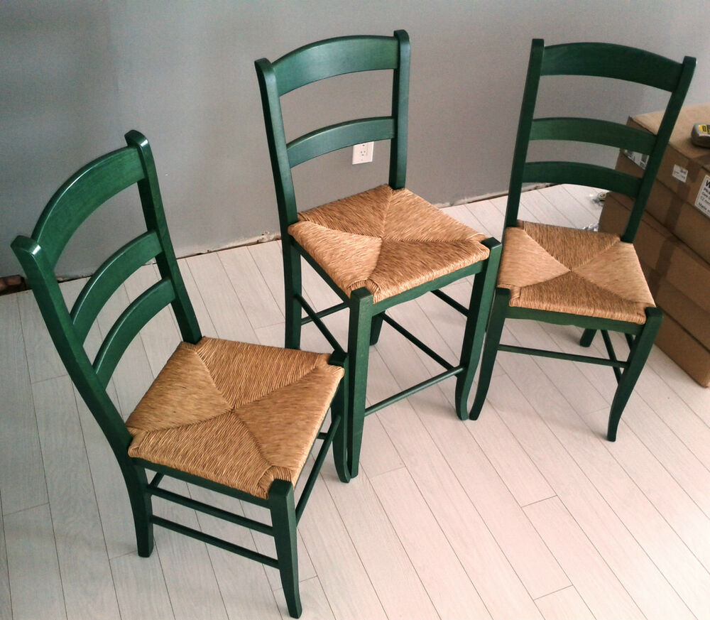Local Pickup 2 1 Green Italian Made Wood Ladder Back W Rush Seats Side Chairs Ebay