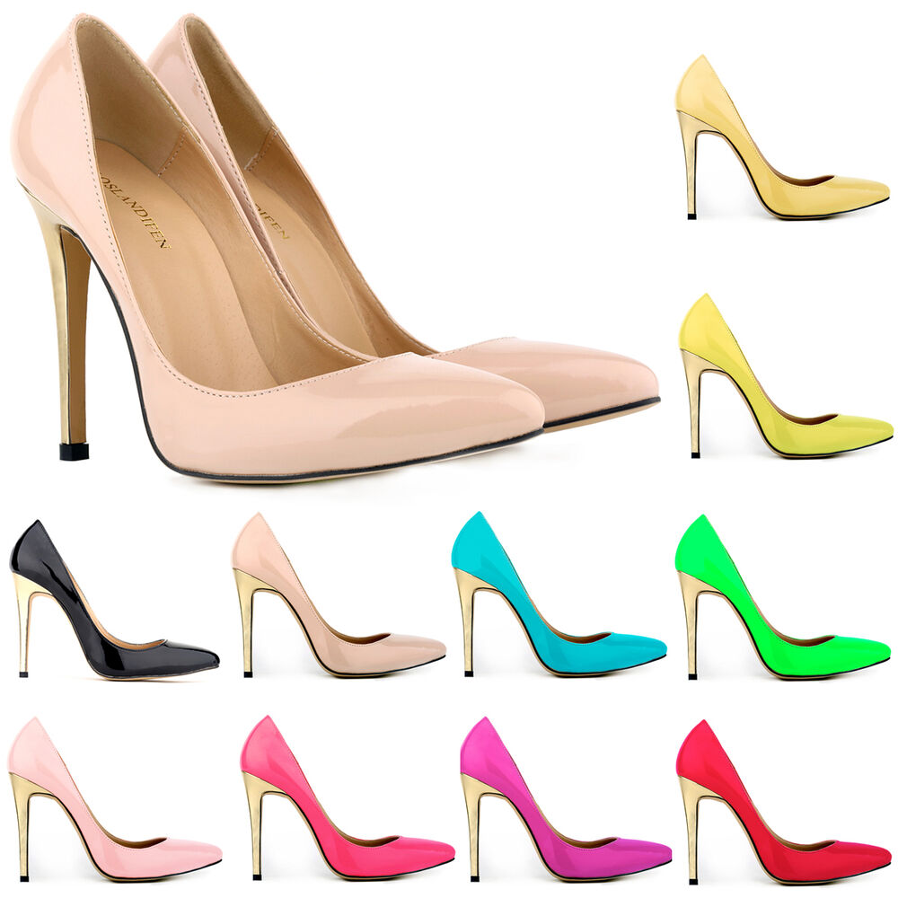 womens high heels stiletto work pumps patent prom shoes uk