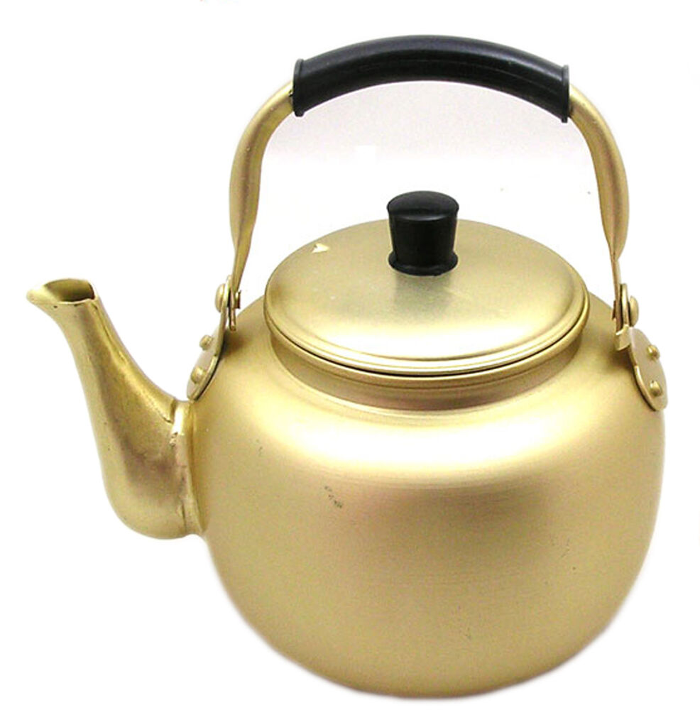 1l 33 8oz Nickel Silver Plated Aluminum Yellow Kettle