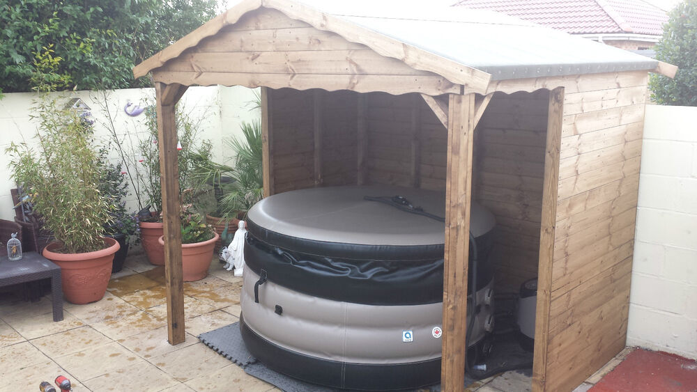 Luxury hot tub canopy shelter 8 x 8 ebay for Hot tub shelters