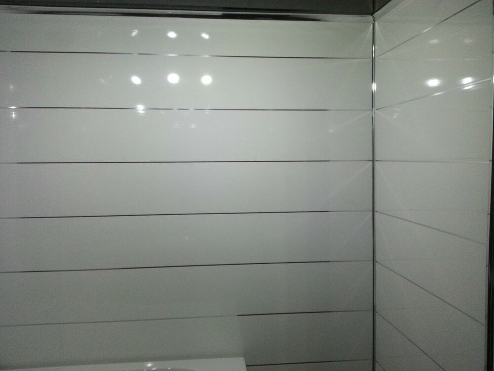 8 white metallic panels bathroom ceiling panels shower for Bathroom wall cladding ideas