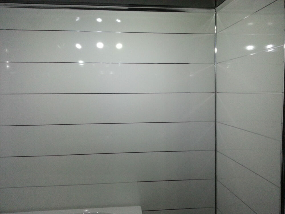 9 White Gloss Pvc Wall And Ceiling Panels With Chrome Edge