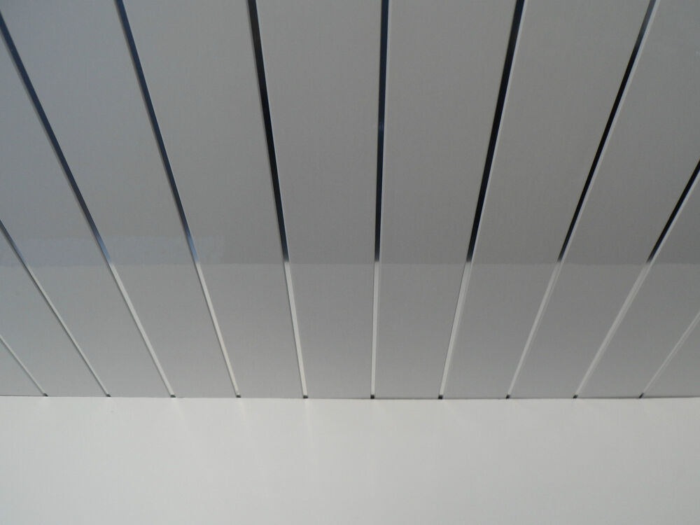 9 white gloss bathroom ceiling panels with chrome strips pvc ceiling cladding ebay for Plastic ceiling panels bathroom