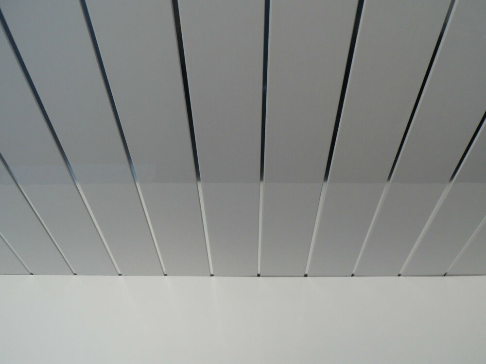 12 Twin Chrome Ceiling Panels White Gloss Finish Waterproof Pvc Cladding Panels Ebay
