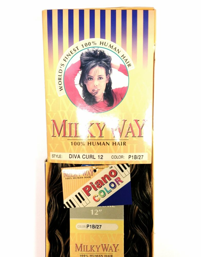 "... GO MILKY WAY 100% HUMAN HAIR DIVA CURL 12"" WAVY WEAVING HAIR 