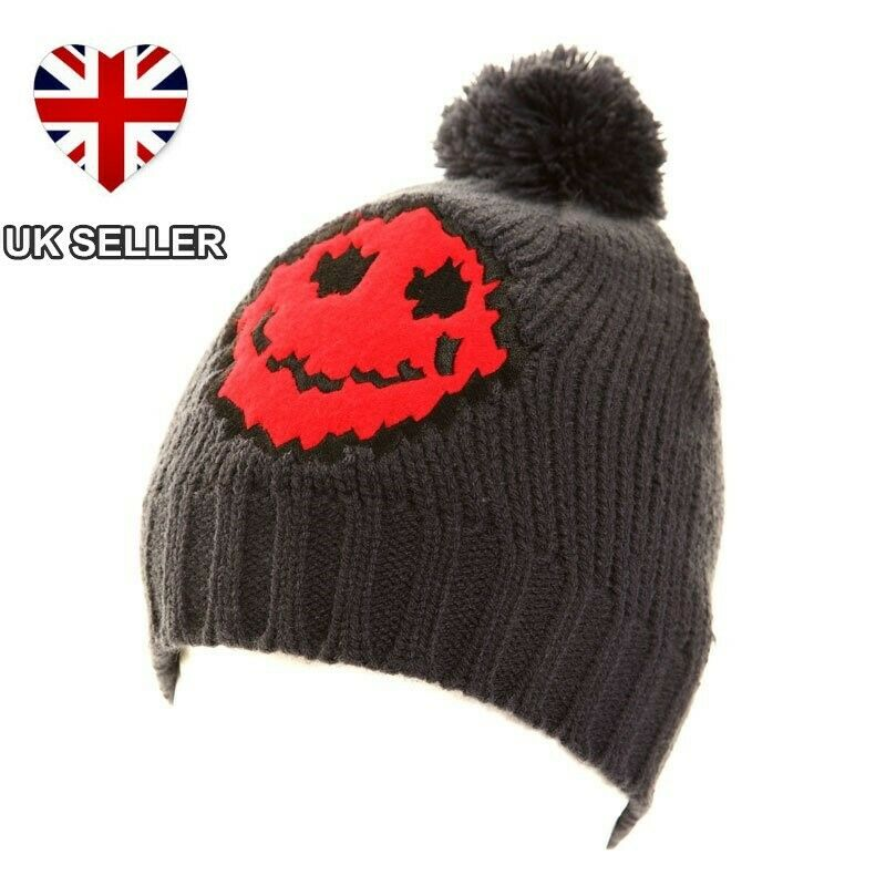 46b51c2ac3e Details about NEW LADIES MENS WOMENS KNITTED SKI BOBBLE POM BEANIE HAT  SMILEY FACE 3 COLOURS