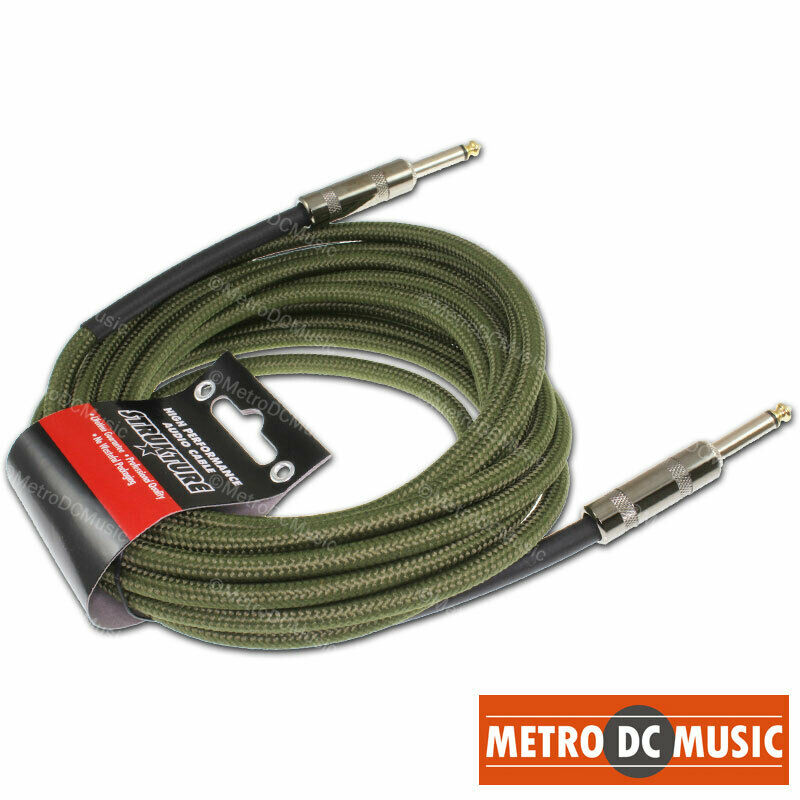 18 5 ft military green woven instrument guitar cable cord patch gold tip 1 4 ebay. Black Bedroom Furniture Sets. Home Design Ideas