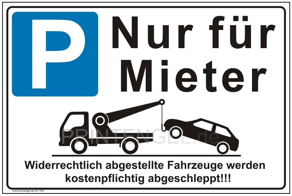 schild parken nur f r mieter privatparkplatz parkverbot parken verboten p62 ebay. Black Bedroom Furniture Sets. Home Design Ideas