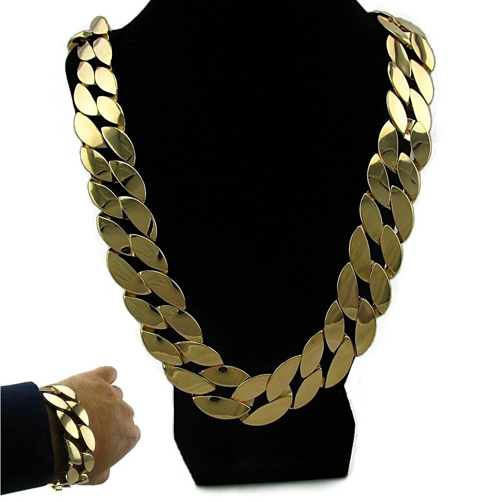 Thick Cuban 30 Quot Necklace Gold Finish 25mm Wide Chain And