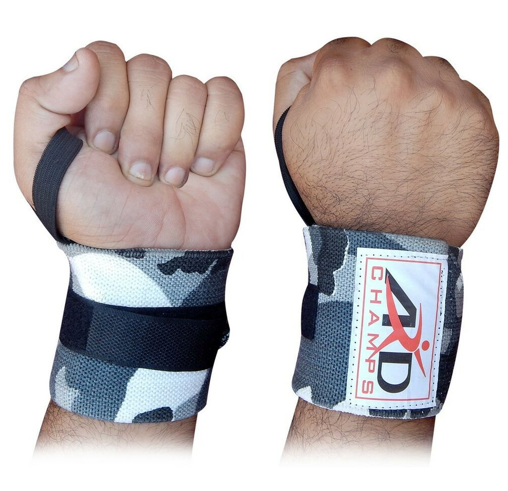 Dam Weight Lifting Gym Gloves Body Building Workout White: ARD Power Weight Lifting Wrist Wraps Supports Gym Training