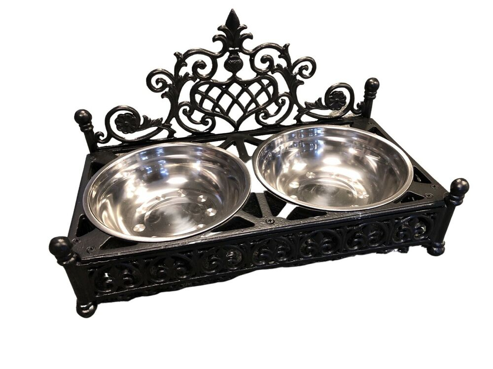 Cast iron Dog bowl holder with Stainless steel dog dishes ... - photo#22