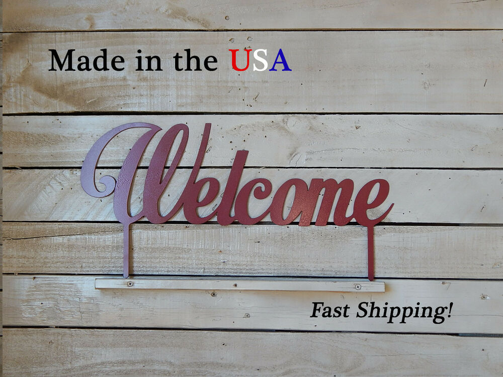 Welcome metal sign home decor outdoor artwork lawn for Outdoor decorative signs