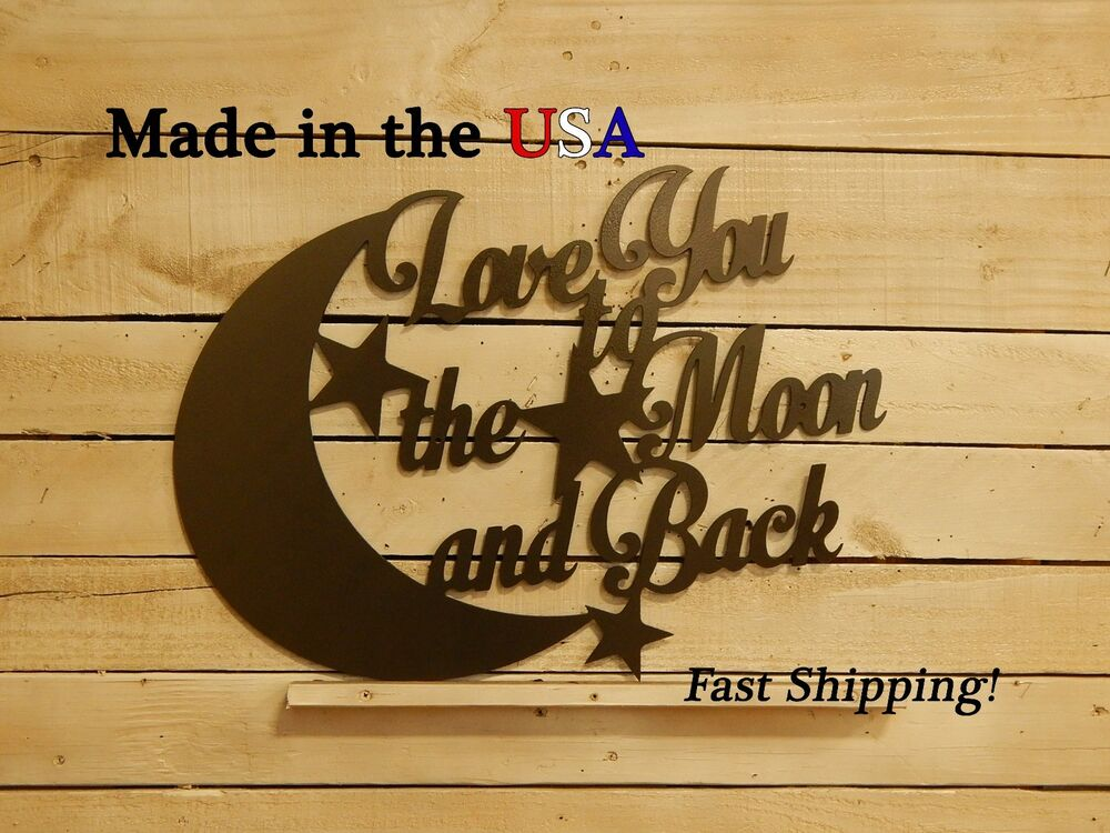love you to the moon and back home decor wall art. Black Bedroom Furniture Sets. Home Design Ideas