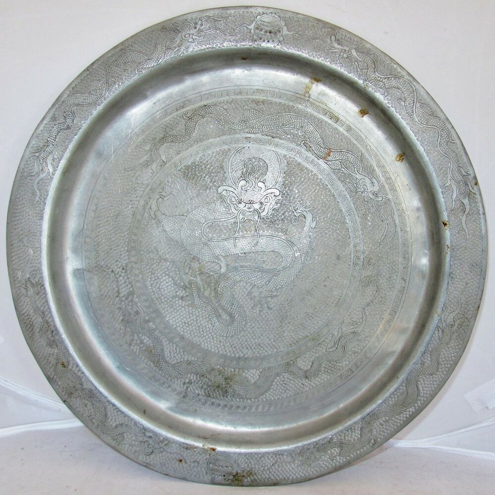 Antique Pewter Plates : Quot antique chinese pewter charger plate serving tray