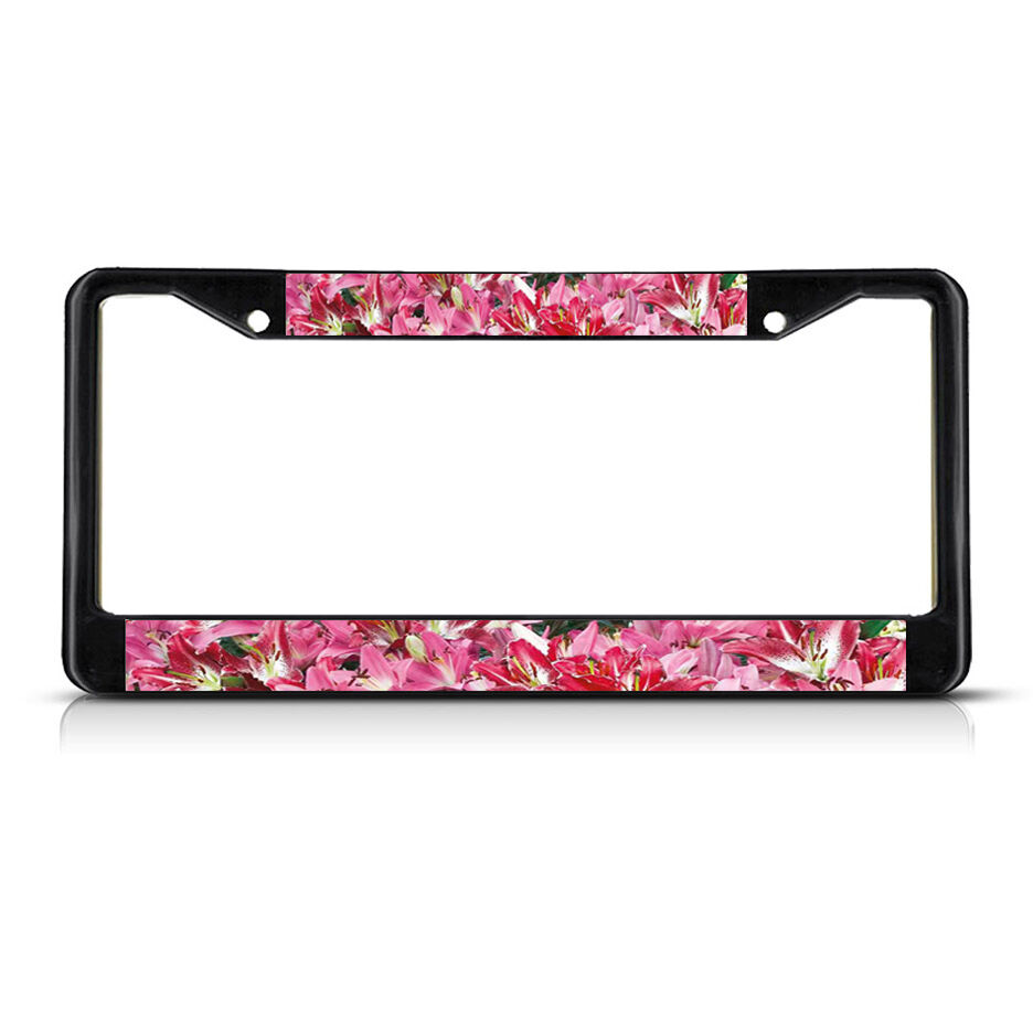 License Plate Holders >> ORIENTAL LILY FLOWERS Black Metal License Plate Frame Tag Holder | eBay