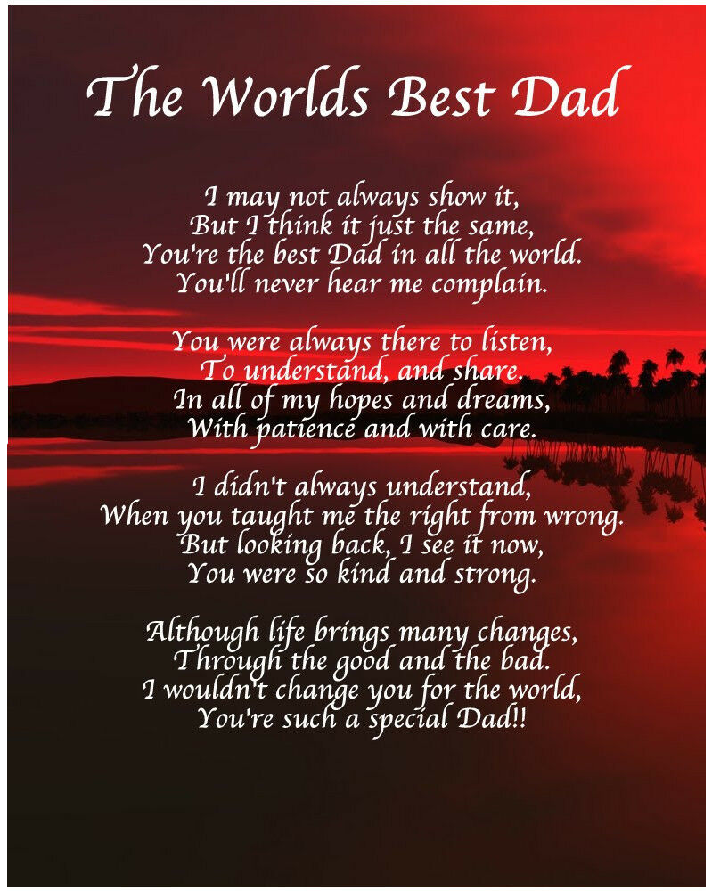 Personalised Worlds Best Dad Poem Christmas Birthday Gift
