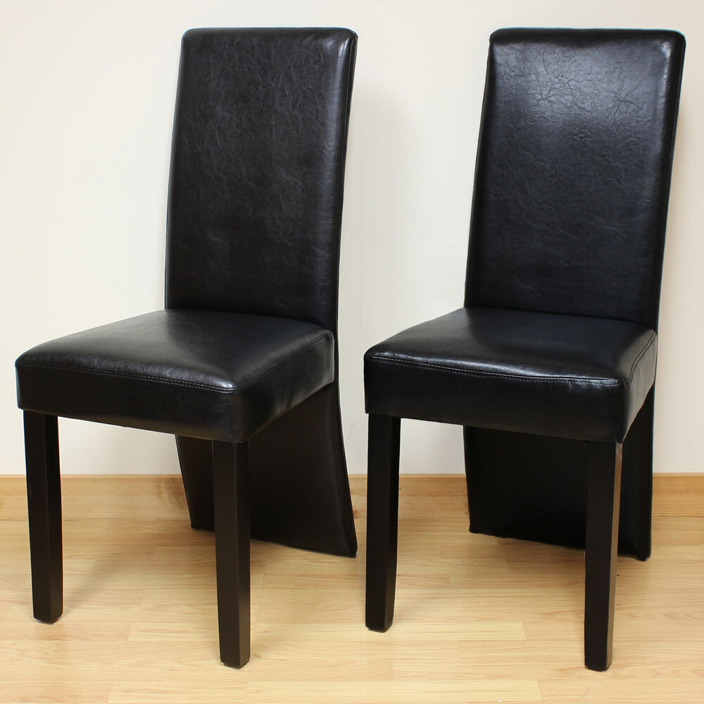 Hartleys 2x black faux pu leather full back dining room for Black leather dining room chairs