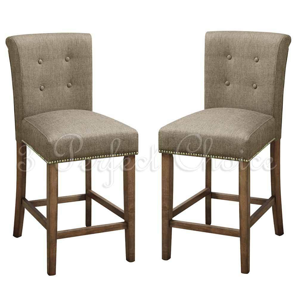 2 PC Dining High Counter Height Side Chair Bar Stool 24 H Blended Linen