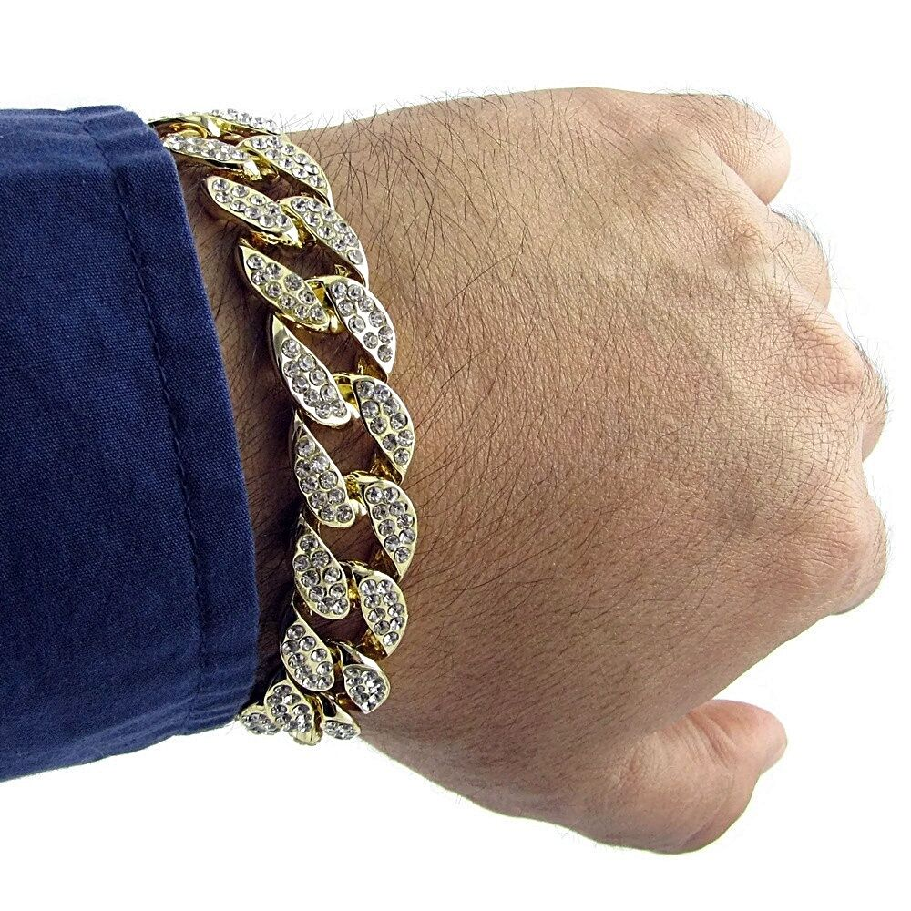 Miami Cuban Link 15mm Full Iced Out Hip Hop Gold Finish 8